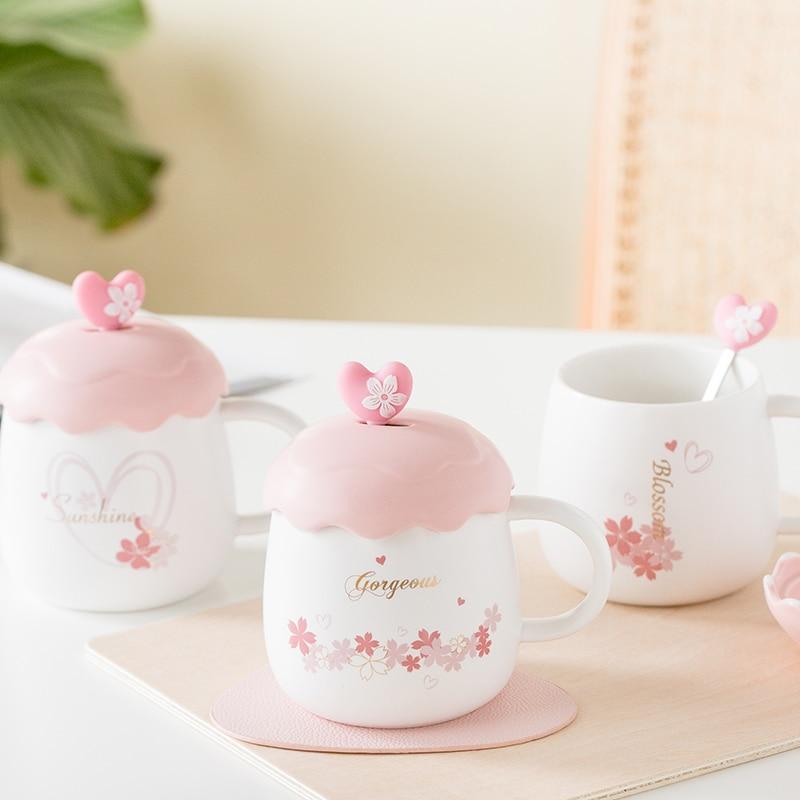 Cute Sakura Mug Ceramic Girl Pink Lid Cartoon Coffee Cup Creative Self Stirring Cups Eco Friendly Coffe Cup Women Mugs Ab50cu Mugs Aliexpress