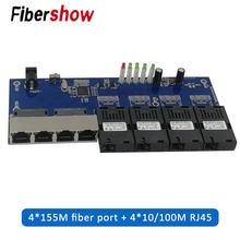 Przejściówka Ethernet do Fiber 4 RJ45 4 SC optyczny Media konwerter tryb pojedynczy Port światłowodowy 10/100M płytka obwodów drukowanych