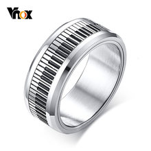 Vnox Rotatable Piano Key Ring For Men Stainless Steel Band Stylish Spinner Band Music Lover Musician Gift Jewelry(China)