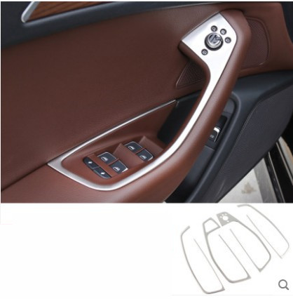For Audi A6 C7 2012 2013 2014 2015 2016 Car Door Handle Armrest Panel Window Lift Switch Button Cover Decor image