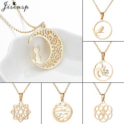 Jisensp Stainless Steel Necklace Moon Cat Birds Wave Pendant for Women Collares Jewelry Gold Mandala Necklaces Wholesale bijoux