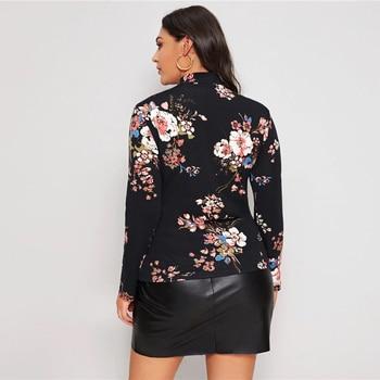 Plus Size Black Mock Neck Floral Print Tee Women Autumn Office Lady Tops
