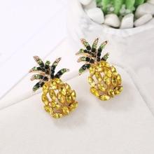 Fashion Crystal Earrings For Women Geometric Pineapple Shape Rhinestone Drop Dangle Earring Female Bohemian Jewelry Party Gifts chic rhinestone faux crystal geometric shape ring for women