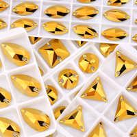 Qiao aaaa ouro hematite costurar em strass contas de vidro pedras strass apliques para vestido de casamento roupas diy costura cristal