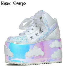 Shoes Sneakers Platform Spice-Girl Wedges Laces Casual Sky Bling
