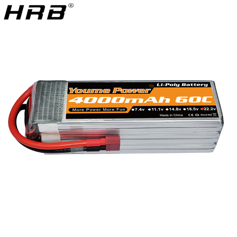 Youme 22.2V <font><b>Lipo</b></font> <font><b>6S</b></font> Battery <font><b>4000mah</b></font> XT60 EC5 EC3 XT90 TRX T Deans 60C For Helicopter Airplanes Buggy 4WD Car Truck Boat RC Parts image