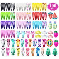 New Mix Color Different Prints Random Hairgrip Hair Clip Snap Hair Clips for Children Girls Hair Accessories WomenYB003