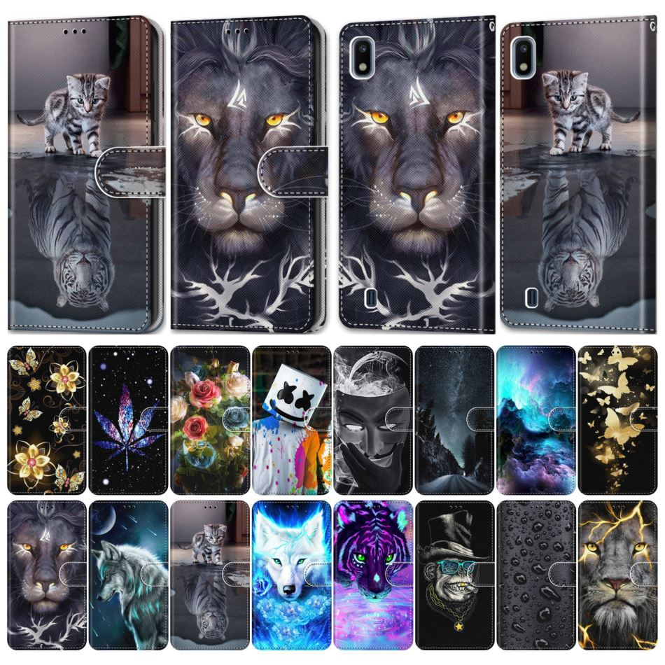 Flip Phone Cover For Case Samsung Galaxy S9 Plus + S8 S7 S6 S5 Girl Boy Phone Bags Cute Lovely Colored Painted Wolf Tiger E08F