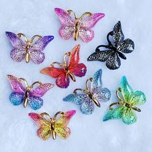 23*38 Mm 10 Pcs Colorful Butterfly dengan Lubang Datar Kembali Berlian Imitasi dan Appliques Diy Pernikahan Dekorasi Scrapbook Aksesoris -B27(China)
