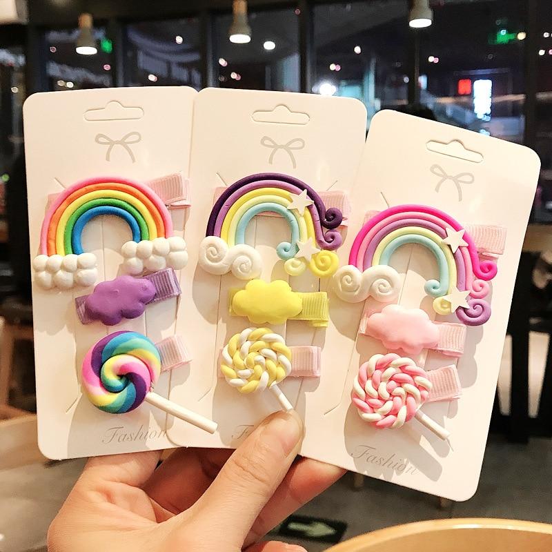 3pc/set Cute Girl Hairpins Lovely Cloud Lollipop Rainbow Cartoon Bobby Pin Hair Clips For Girls Children Headband Kids Accessori