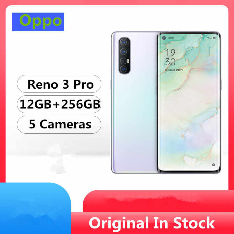 "DHL livraison rapide Oppo Reno 3 Pro 5G téléphone portable Android 10.0 Snapdragon 765G 6.5 ""90 HZ 12GB RAM 256GB ROM 48.0MP empreinte digitale ID"