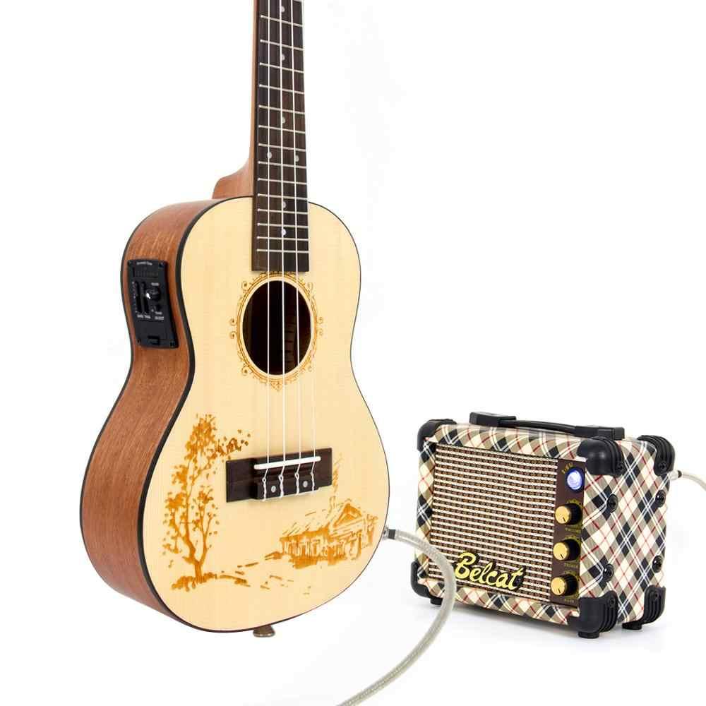 Kmise Concert Ukulele Solid Spruce Acoustic Ukulele 23 นิ้ว Uke 3 BAND Pre AMP บอร์ดจูนเนอร์ 1/4 MONO แจ็ค OUT PUT