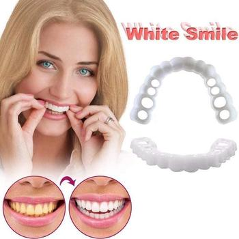 Perfect Smile Top And Bottom Cosmetic False Teeth Dental Veneers In Instant Comfort Fit Whitening Flexible Denture Sleeve 2pcs perfect smile veneers silicone denture smile false veneerd teeth whitening of veneer dub in stock for correction of teeth
