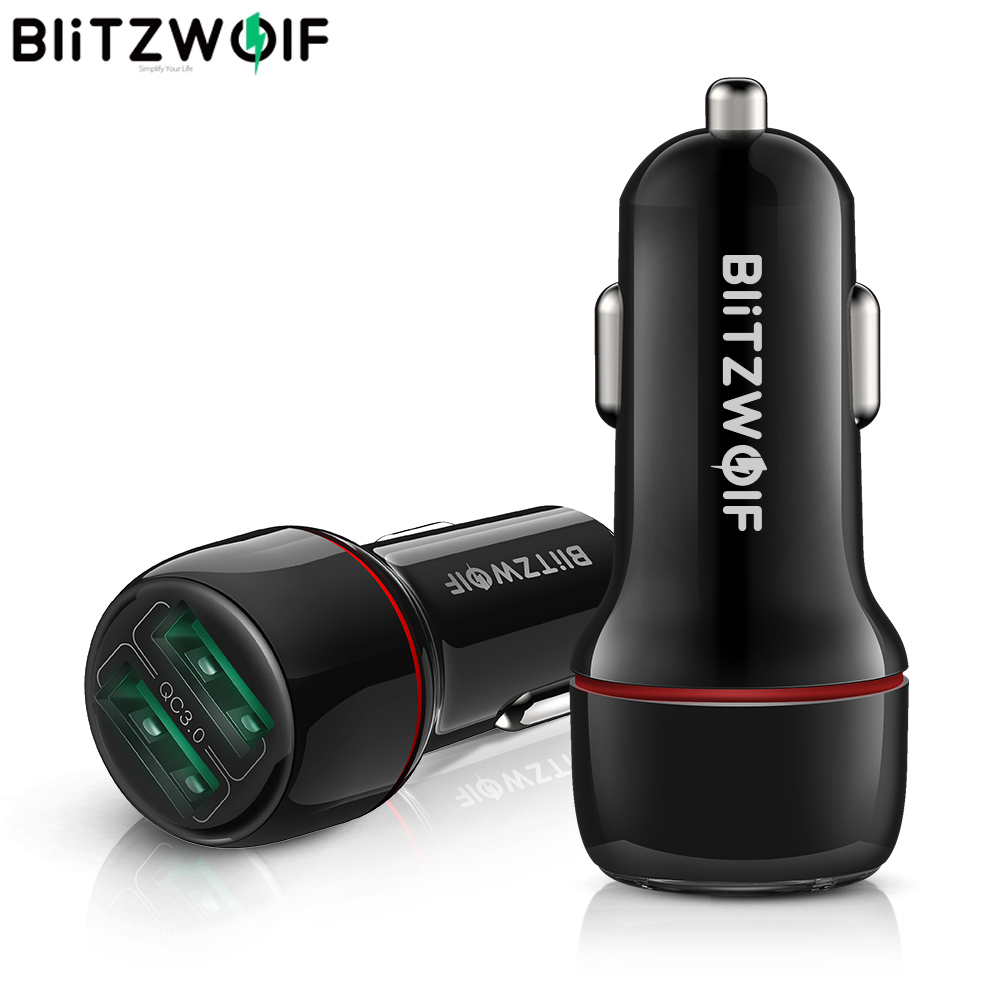 BlitzWolf Mini Car Charger 18W Dual QC3.0 USB Fast Charge Port Mobile Phone Adapter for universal Mobile Phone