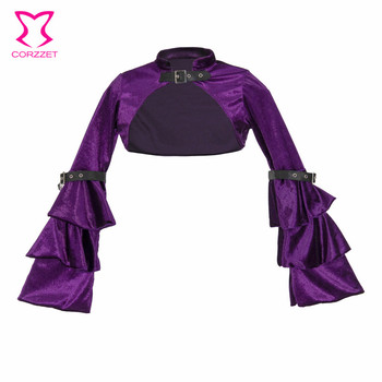 Purple Flannel Flare Sleeve Gothic Jacket Women Victorian Coat Steampunk Clothing Vintage Clothes Medieval Costume Accessories