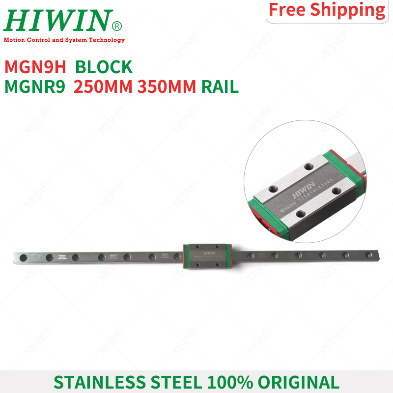 HIWIN  Stainless Steel  MGN9 150mm 250mm  350mm linear guide rail with MGN9H slide blocks Carriages  MGN9 Series  for 3D Printer-in Linear Guides from Home Improvement