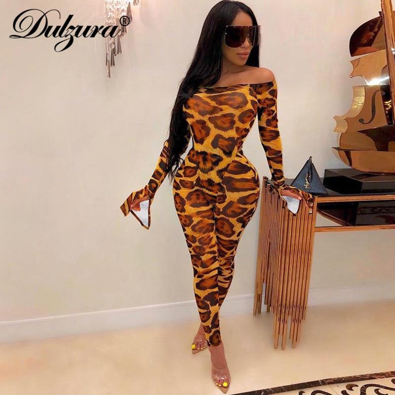 Dulzura Leopard Animal Print Jumpsuit Off Shoulder Elegant Bell Flare Sleeve Bodycon Sexy Streetwear 2019 Autumn Winter Clothes