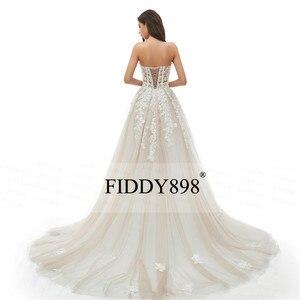 Image 5 - Женское свадебное платье без бретелек, длинное ТРАПЕЦИЕВИДНОЕ ПЛАТЬЕ из фатина с кристаллами и жемчужинами, модель 2020 в стиле бохо