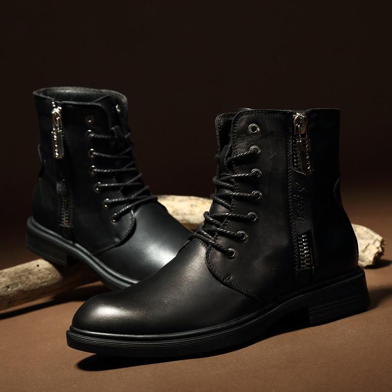 Männer Stiefel 2019 Neue Mode Pu Leder Tragen Wider Schnee Stiefel Männer Arbeiten Stiefel Schuhe Winter Warm Halten Stiefel 36 46*9918 - 2