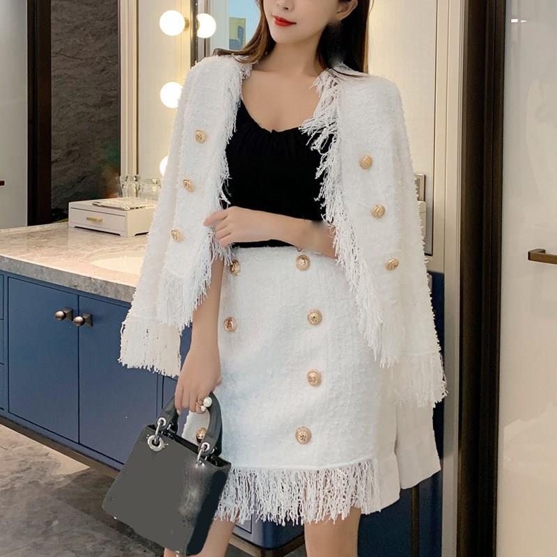 Nouvelle veste femmes automne hiver laine frangée Tweed gland deux pièces ensemble blanc mince à manches longues en vrac deux pièces tenues - 3