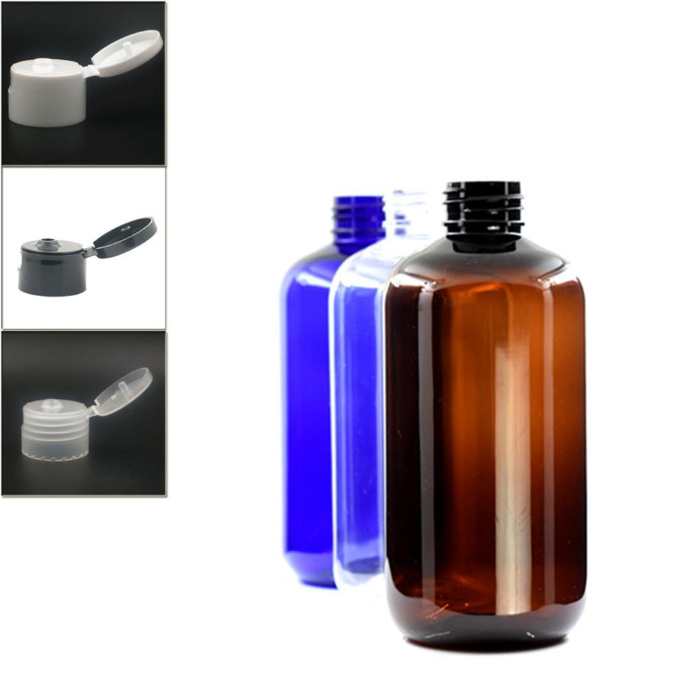 250ml Empty Dispensing Cap Boston Round Plastic Bottle , Clear Pet Bottle With Transparent/white/black Flip Top Lid