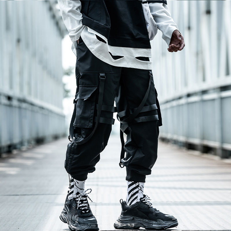 11 BYBB'S DARK Hip Hop Pants Men 2019 Clothing Elastic Waist Trousers Joggers Casual Loose Cargo Pants Ribbons Man Sweatpants