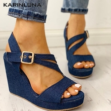 Ins Plus Size 43 Leisure Denim Customize Wedges Shoes Women On Sale Summer Sandals Platform High Heels Shoes Woman Sandals pink palms women summer shoes new navy denim platform shoes folk flower embroidered fabric high heels sandals