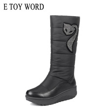 E TOY WORD Winter Women boots Platform Boots Down women Shoes Waterproof Rubber Snow large size 43