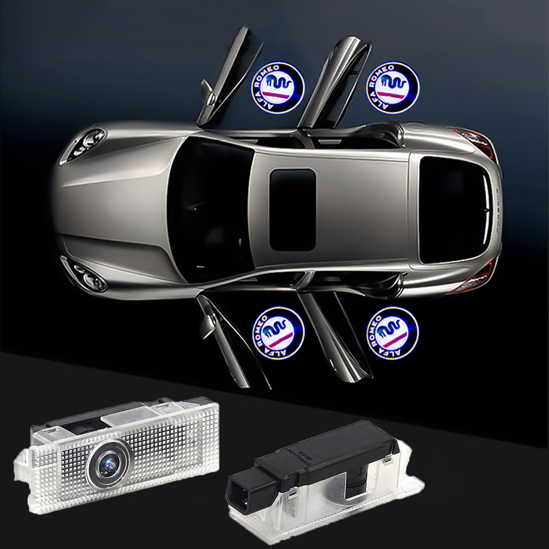 FOR Alfa Romeo LED Car Door Welcome Light Logo Projector Giulia Giulietta Mito Stelvio Brera 147 156 159 Car-styling
