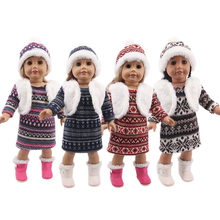Doll Sweater 3 Pcs/Set=Hat+Plush Fake Vest +Sweater For 18 Inch American&43Cm Born Generation Baby Girl`s Christmas Birthday Toy(China)