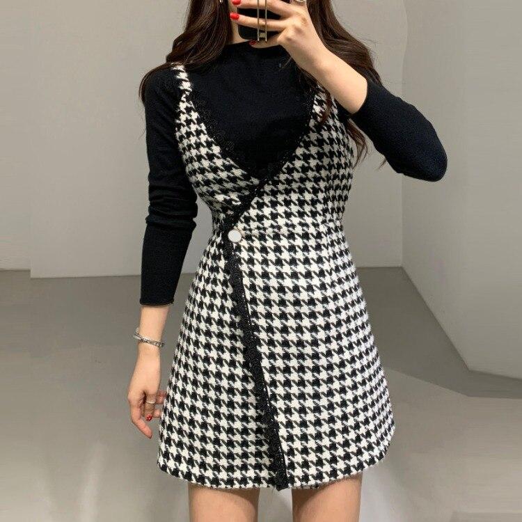 2020 Spring South Korea CHIC Thousands Of Birds Debutante Elegant Tweed Strapped Dress + Base Knitted Jacket Women's