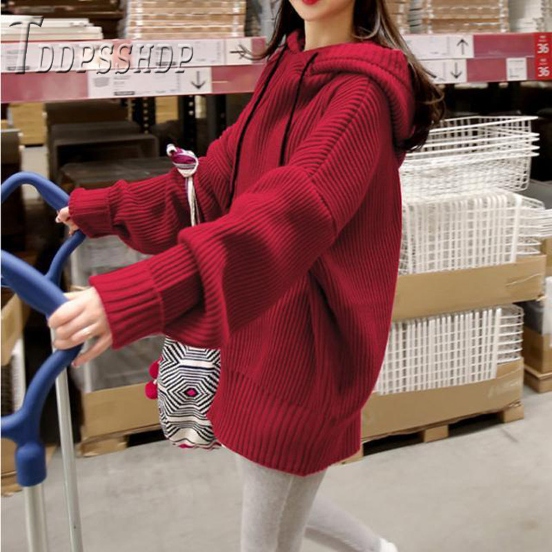 Women Winter Long Sleeve Women Sweater Drawstring Pullover Jumpers Female Sweaters