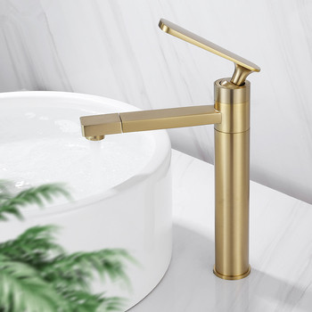Bathroom Basin Faucet Solid Brass Hot & Cold Sink Mixer Crane Tap Brushed Gold Single Handle Deck Mounted Rotating Faucet