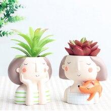 Container Doll Flowerpot Face-Vase-Decor Cute Human Storage