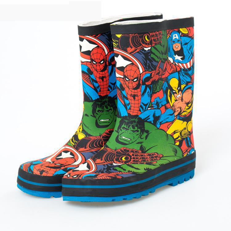 2019 Design Kid Rain Boots Cartoon Children Spider-man Hulk Us Team Super Hero League Boy Rubber Rain Boot Water Shoes Non-slip