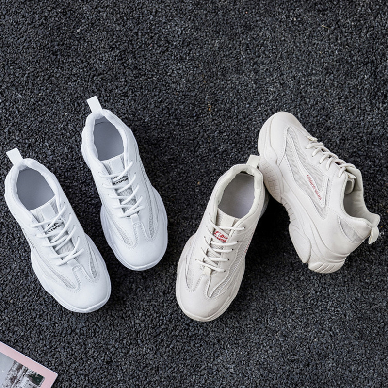 White Sneakers Shoes Woman Casual Lace Up Breath Mesh Walking Sneakers Platform Trainers Women Dad Sneakers Zapatos De Mujer