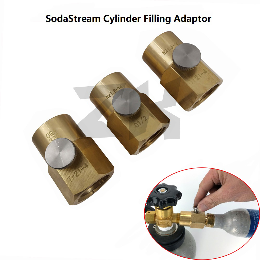 SodaStream Cylinder Refill Adapter Adaptor With Bleed Valve And W21.8-14 Or CGA320 Connector