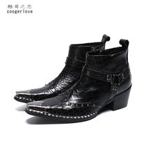 wedding dresses Brand Genuine Leather Men Boots British Style All Match black Simple Pointed Toe Chelsea Boots Men Ankle Shoes new arrival korean style pointed toe red black mixed color man wedding shoes genuine leather ankle metal chain design boots men