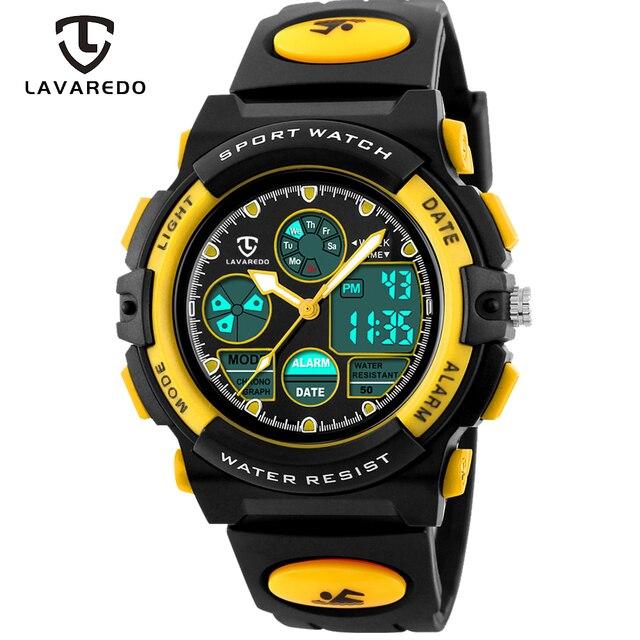 LAVAREDO 어린이 스포츠 시계 패션 LED 쿼츠 다기능 디지털 시계 어린이 50M 방수 손목 시계 A5