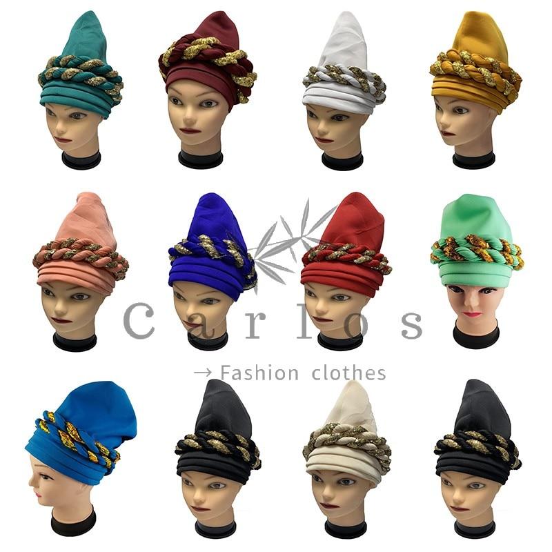 12 Pcs High Quality Newest Elegant Turban Hats Women Cap Beaded For India  Scarfs Head Wrap Headband Girl Hair Accessories Lady