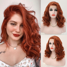 Charisma Short Wig Wavy Hair Side Part Synthetic Lace Front Wig Orange Red Color Glueless Heat Resistant Bob Wigs for Women