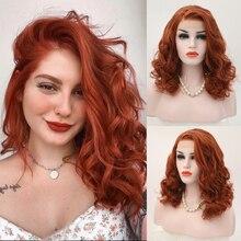 Karizma kısa peruk dalgalı saç yan kısmı sentetik dantel ön peruk turuncu kırmızı renk tutkalsız isıya dayanıklı Bob peruk kadınlar için