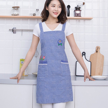 Cotton Apron Oil Resistant Cleaning Kitchen Home Uniforms Bakery Linen Plaid With 2 Large Pockets