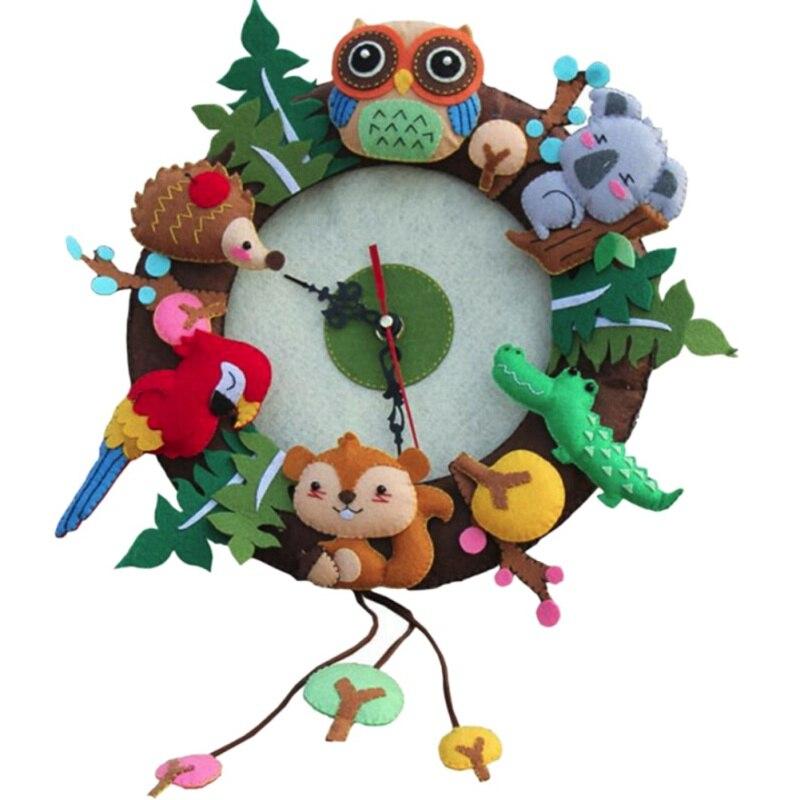 Felt Wall Clock Free Cutting Felt Material DIY Package Forest Animal Theme Handmade Cloth Clock For Living Room Decorar