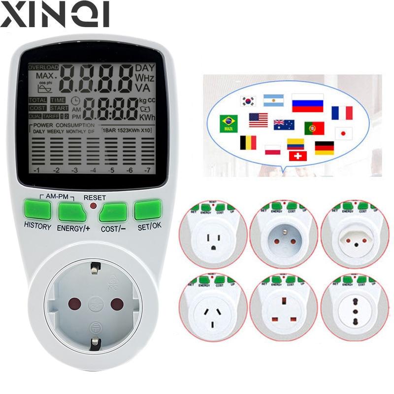 EU Digital LCD Energy watt Meter Wattmeter Wattage Electricity Kwh Power monitor Electric Meter Measuring Outlet Power Analyzer