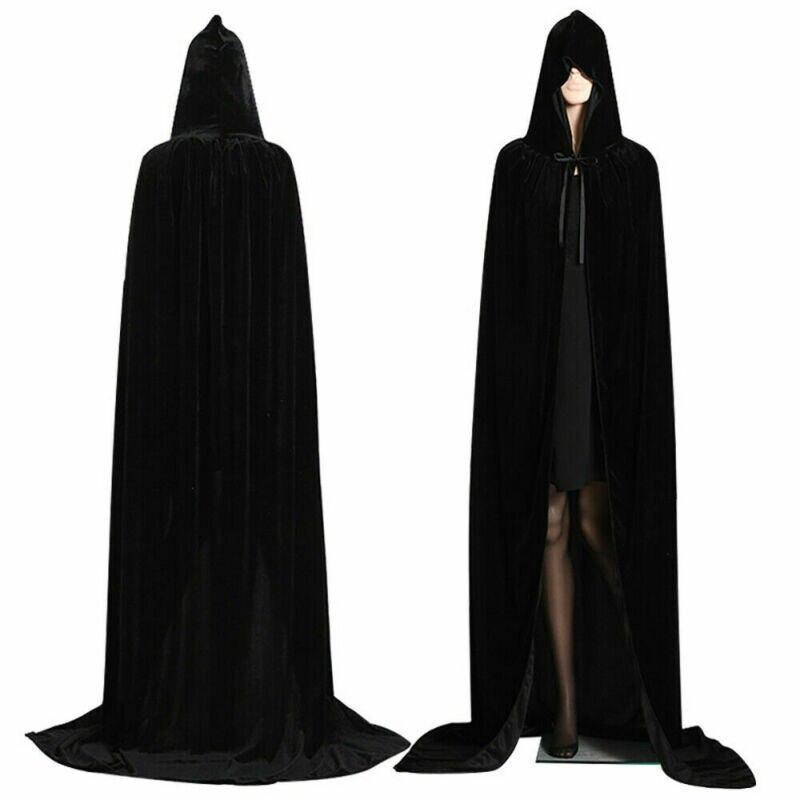 Halloween Con Cappuccio Mantello di Velluto Robe Medievale Stregoneria Del Capo Veste Costume Unisex