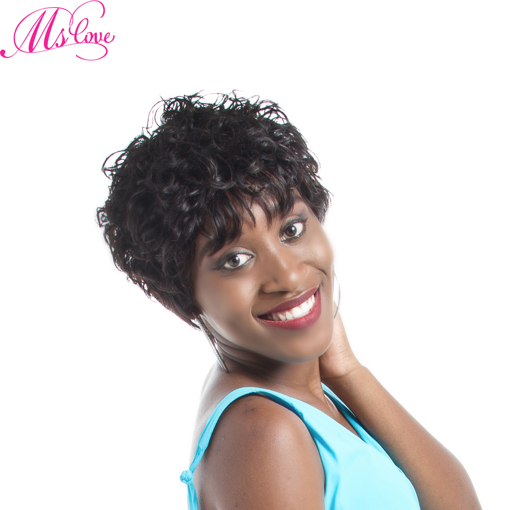 Short Curly Human Hair Wig With Bangs Body Wave Brazilian Wig For Black Women 4 Inch Natural Black Non Lace Wig Ms Love