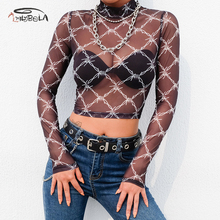 Imily Bela Sexy Mesh Crop Top Women Long Sleeve Stand Collar Print T Shirt Fashion Transparent Short T-shirt Femme Streetwear недорого