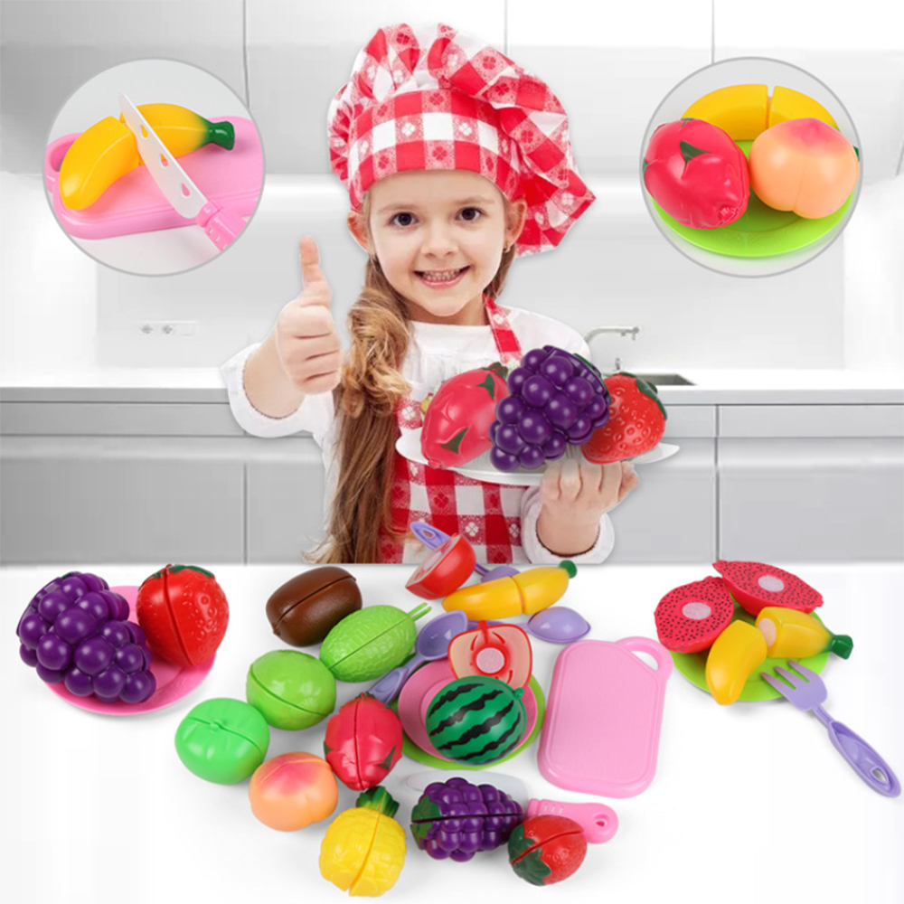 19Pcs Safe Children Play House Toy Tea Set Plastic Food Toy Cut Fruit Vegetable Kitchen Baby Kids Pretend Play Educational Toys