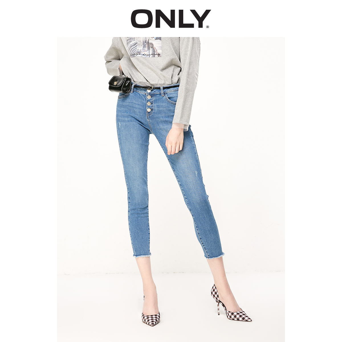 ONLY Women's Low-rise Skinny Multiple Buttons Crop Jeans | 119149620